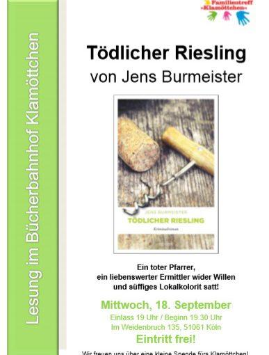 18.09.2019, 19:00 Uhr – Jens Burmeister liest im Klamöttchen Köln