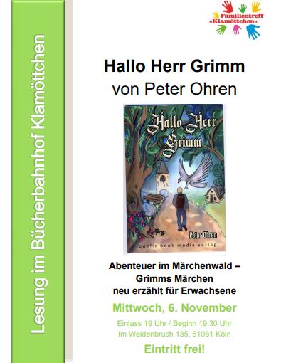 """06.11.2019 """"Hallo Herr Grimm"""" – Peter Ohren liest im Kölner Klamöttchen"""