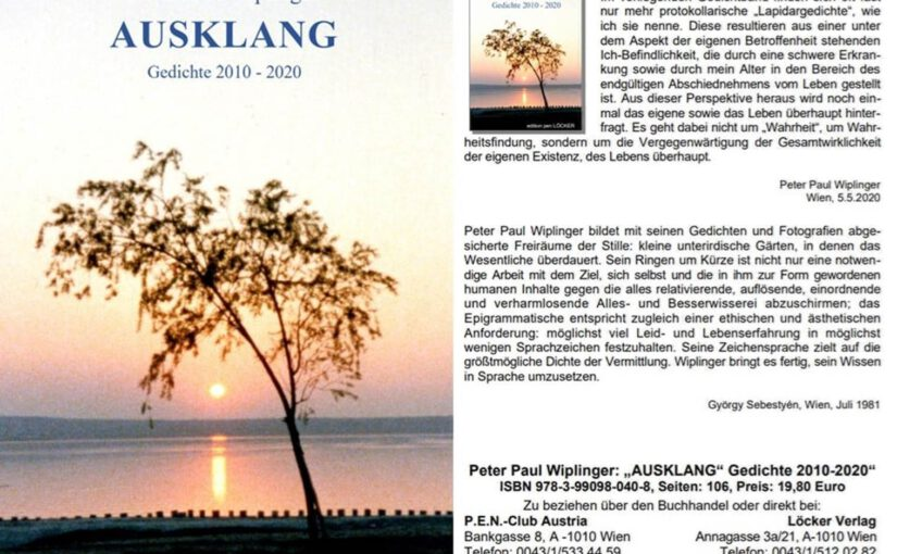 Peter Paul Wiplinger:  AUSKLANG – Gedichte 2010–2020